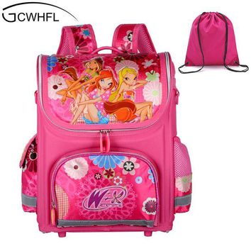 LMFCI7 GCWHFL Brand Orthopedic Schoolbag Girls Backpacks For School Kids Rucksack Children School Bag Princess Knapsack Mochila Escolar