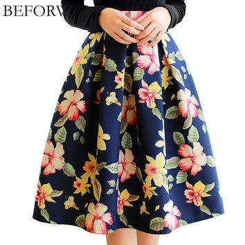 BEFORW Brand High Waist Pleated Midi Skirt 4 Color Women Floral Print Long Skirts Winter Skirts Faldas largas Saia feminina