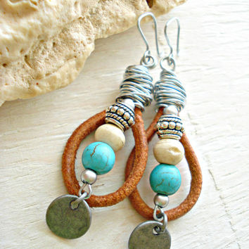 Leather Handmade Earrings - Boho Earrings - Boho Jewellery - Turquoise Earrings - Native American Jewellery - Hippie Earrings