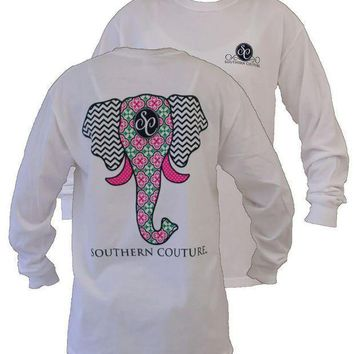 CREYXF7 Southern Couture Preppy Elephant Chevron Pattern Comfort Colors White Girlie Long Sleeve Bright T Shirt