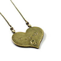 Heart necklace: TAKEN engraved necklace reversible necklace Valentines Day necklace, vintage brass, love jewelry girlfriend wife