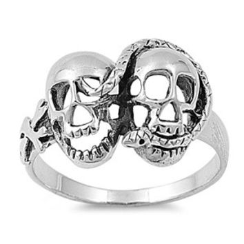 925 Sterling Silver Twin Skull Snake Ring