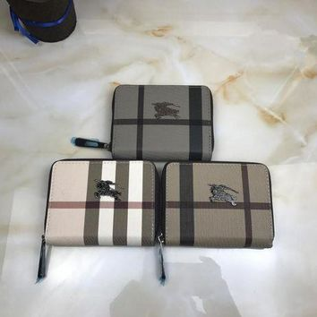 DCCKXT7 Burberry' Unisex Small Purse Classic Multicolor Tartan Stripe Short Section Zip Double Layer Wallet