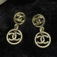 CHANEL New Fashion More Diamond Round Long Section Earring Accessories Golden