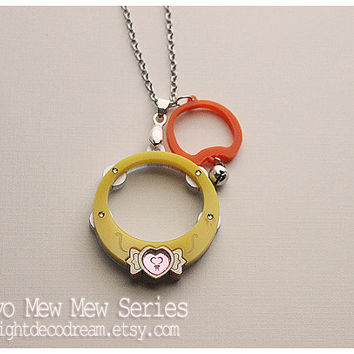 Tokyo Mew Mew Inspired Puring Rings  Acrylic Necklace for Mahou Kei, Magical Girl Fashion