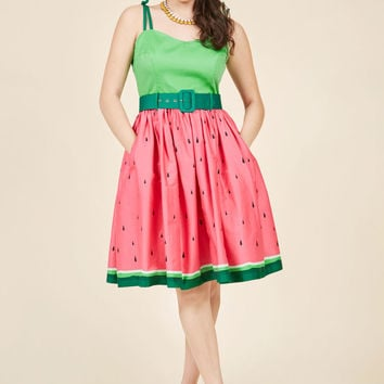 Collectif Abide by Timeless Fit and Flare Dress in Watermelon