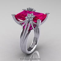 Modern Bridal 10K White Gold Radiant Cut 15.0 Ct Rose Ruby Diamond Fantasy Cocktail Ring R292-10KWGDRR