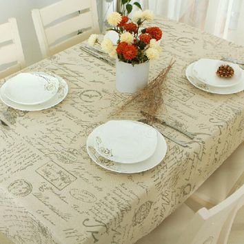 Liner Cotton Tablecloths For Rectangular Tables Letter Printed Table Cover White Lace Table Cloth Tovaglia E Coprisedie Merletto