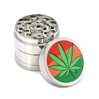 Tobacco - Herb - Spice Grinder - 4 Layer - Artistic Design - Chrome