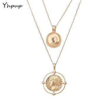 Yhpup Charms Long Chain Round Collar Baroque Medusa Necklace Pendant Simple Vintage Golden Portrait Trendy Metal Necklace Women