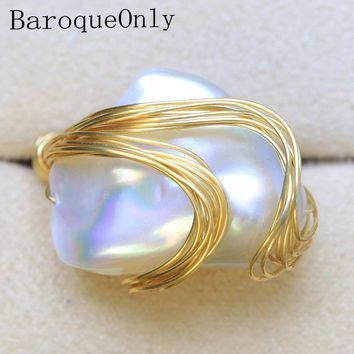 BaroqueOnly  Handmade Natural FreshWater White Pearl Big Baroque Beads Wire Wrapped Rings Fashion Woman Party RO1