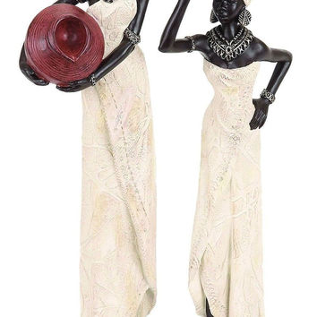 Deco 79 Table Top Polystone African Figure Sculpture 16 by 4-Inch 2 Assorted ...