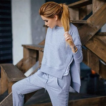Side Split Irregular Blouse Straight Pant Fashion Two Pieces Set