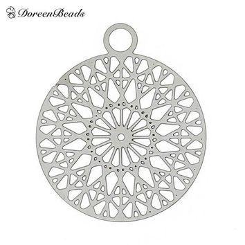 DCCKHY9 Filigree Stainless Steel Charm Pendants Round Silver Tone Flower Hollow Carved 22mm( 7/8') x 18mm( 6/8'),2 PCs 2016 new