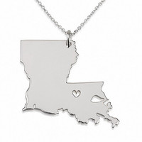 State Necklace Louisiana State Charm Necklace Sterling Silver State Necklace With A Heart