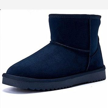 Waterproof snow boots with high-level increase with warm velvet boots Dark blue