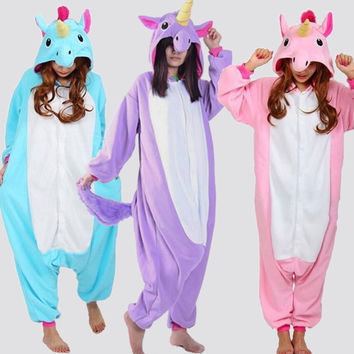 Unicorn Tenma Adult Unisex Pajamas Suits Cartoon Animal Cosplay Costume Flannel Onesuits Sleepwear