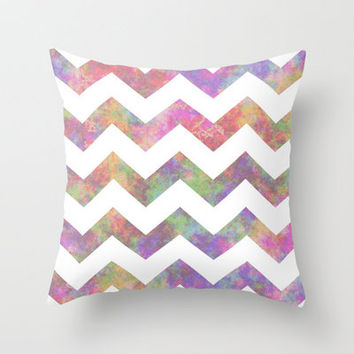 Tiedye Chevron #3 Throw Pillow by lilacattack