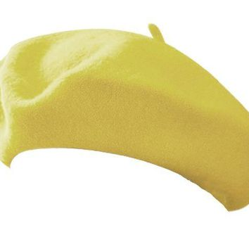 ONETOW Classic Wool Blend French Artist Beret PASTEL YELLOW