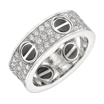 Cartier Ceramic Diamond Gold Love Band Ring