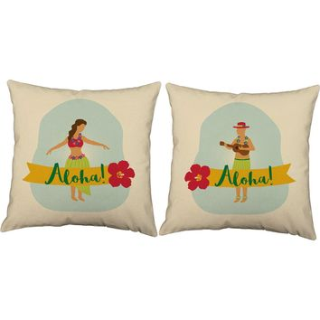 His and Hers Hula Couple Throw Pillows
