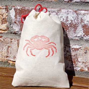 Crab Hand Stamped Cotton Muslin 4x6 Favor Bag - great Beach Weddings and Nautical themed parties