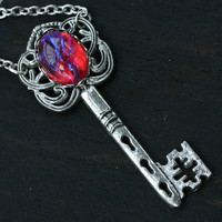 Dragon Breath Key Necklace - Mexican Fire Opal