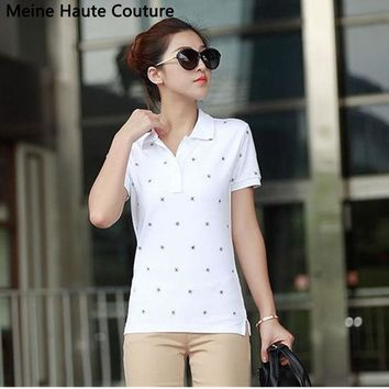 DCK9M2 4XL Causal Slim Solid Embroidery Polo Women Shirt Cotton Turn-down Collar Women's Polo Shirt polos mujer manga corta marca