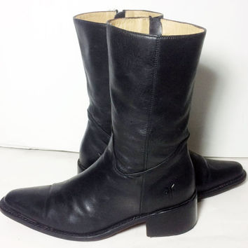 Frye 77040 Ladies Rush Zip Black Leather Cowgirl Western Cowboy Boots Women's Size 8