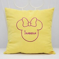 Pillow Covers Decorative Minnie Mouse Ears Girl Name Pillow Case Bedroom Room Home Nursery Decor Throw Pillows V12