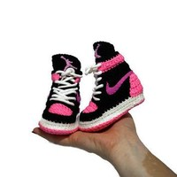 Crochet Baby Air jordan Sneakers, Girl Baby Air Jordan Shoes, Girl Baby Pink Crochet S