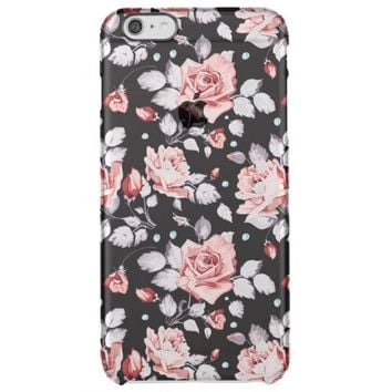 Vintage Pink Floral Pattern Uncommon Clearly™ Deflector iPhone 6 Plus Case