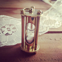 1 - Vintage Style Sand Timer Hour Glass hourglass Pendant Charm Necklace REALLY WORKS Nautical Shiny GOLD Brass Sandtimer