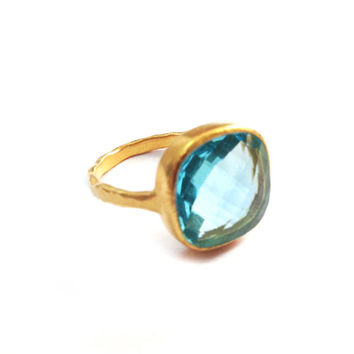 Aquamarine Cushion Cut Cocktail Ring | Nikki Baker