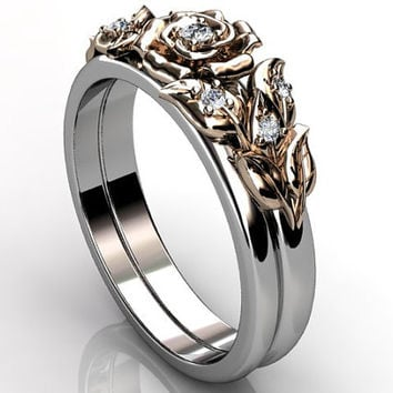 14k two tone white and rose gold diamond unusual unique floral engagement ring, wedding ring, engagement set ER-1065-5