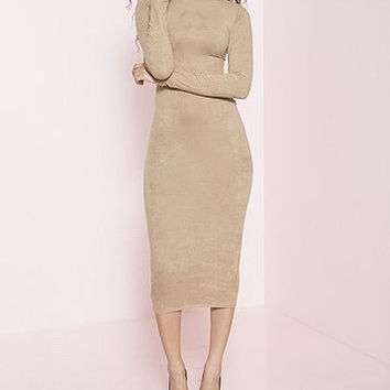 Per Suede Me Long Sleeve Micro Suede Bodycon Dress