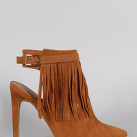 Suede Fringed Buckle Strap Pointy Toe Stiletto Booties