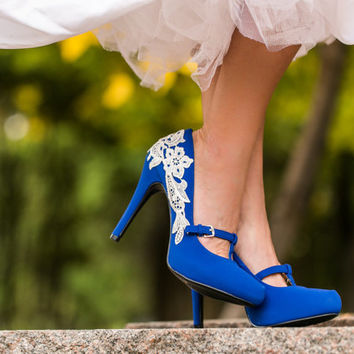 Blue Wedding Shoes - Wedding Heels, Bridal Shoes, Heels, Blue Bridal Heels, Bridesmaid Gift, Mary Jane Heels with Ivory Lace. US Size 7.5