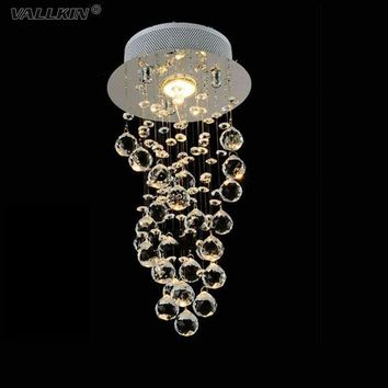 LED Ceiling Crystal Chandeliers Lamp For Bedrooms Entrance Foyer Hallway Romantic Restaurant K9 Crystal Pendant Lamps VALLKIN