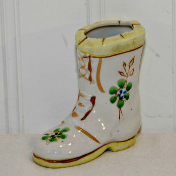 Vintage Made In Occupied Japan Ceramic Ladies Boot (c.1947-1952), Handpainted Florals With Yellow Trim, Collectible, Gift Idea, Ceramic Boot