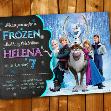 Disney Frozen Elsa Olaf Anna Chalkboard, Birthday Invitation for little boy and little girl