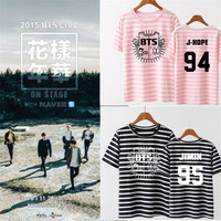 Youpop KPOP BTS Bangtan Boys Stripe Young Forever T Shirt 2016 K-POP Classic Black White Pink Cotton Short Sleeve T-shirts DX321