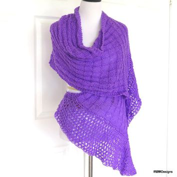 Bright Purple Shawl, Lightweight Hand Knit Summer Wrap