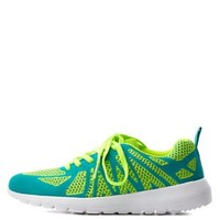 Teal Combo Qupid Two-Tone Mesh Sneakers by Qupid at Charlotte Russe