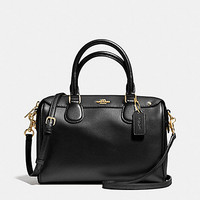 New Authentic Coach F57521 Mini Bennett Satchel Shoulder Bag Crossgrain leather in Black