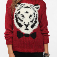 Pins and Needles Flocked Animal Portrait Sweater