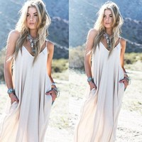 ESBOND Vintage Hippie Boho People Long Maxi Evening Party Chiffon Dress