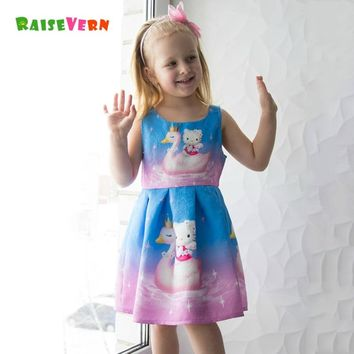 2018 New Girl Princess Dress Toddler Girl Hello Kitty Pattern Dress Party Clothes Children Cartoon Elegant Costume