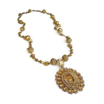 Philippines Tamborin Necklace, Tambourine, Gold Plated, Cannetille Filigree, Religious Jewelry, Filipino Rosary, Vintage Jewelry