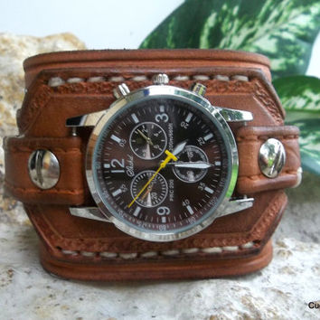shop brown leather cuff watch on wanelo canyon brown watch cuff men s leather wrist watch leather cuf